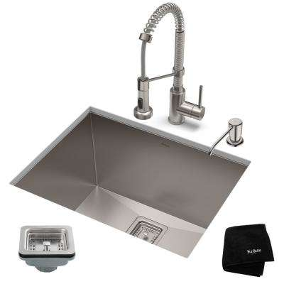 Pax All-in-One Undermount Stainless Steel 24 in. Single Bowl Kitchen Sink  with faucet in Stainless Steel