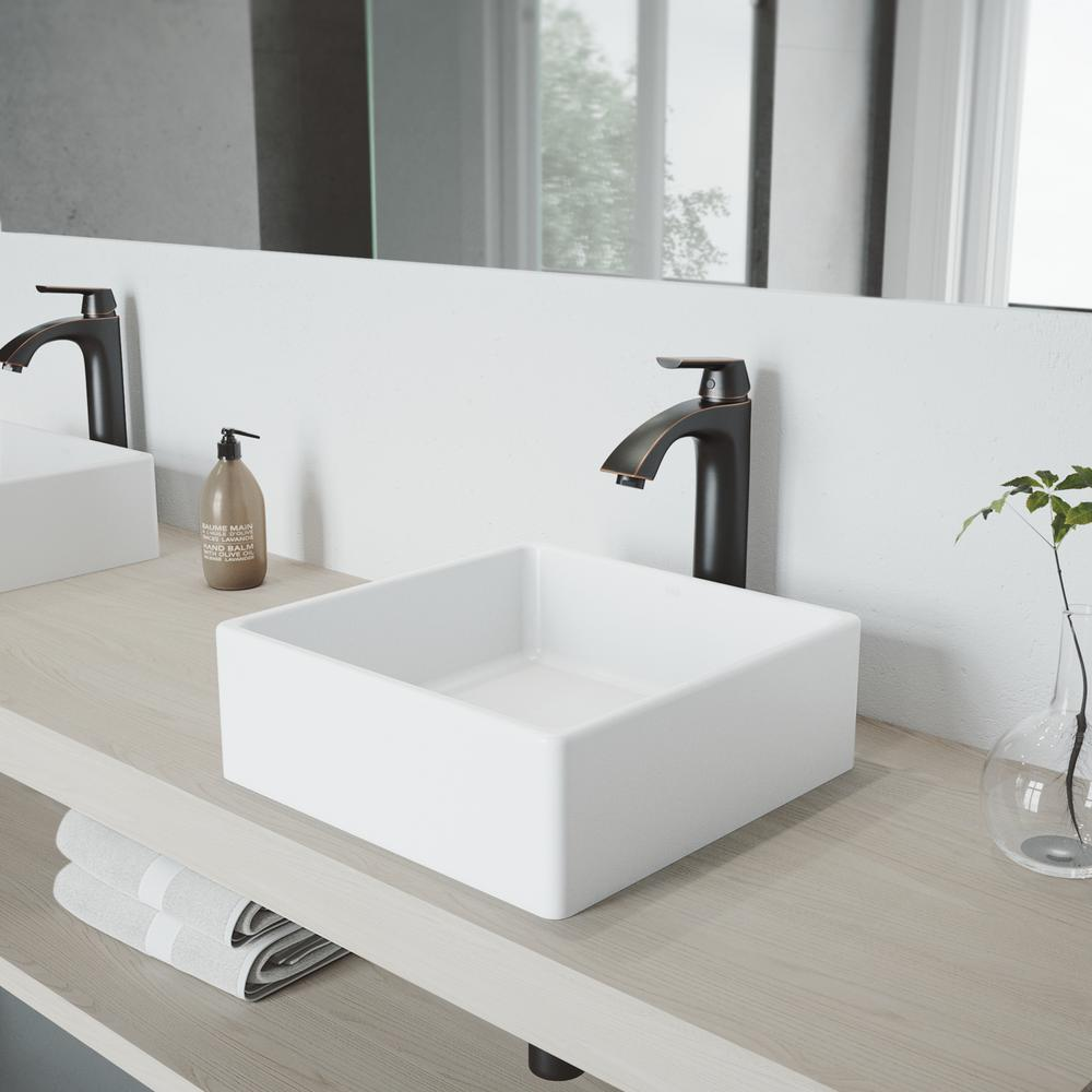 VIGO Dianthus White Matte Stone Vessel Bathroom Sink and Linus Bathroom  Vessel Faucet in Antique Rubbed Bronze w/ Pop up