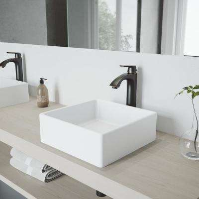 Dianthus White Matte Stone Vessel Bathroom Sink and Linus Bathroom Vessel Faucet in Antique Rubbed Bronze w/ Pop up
