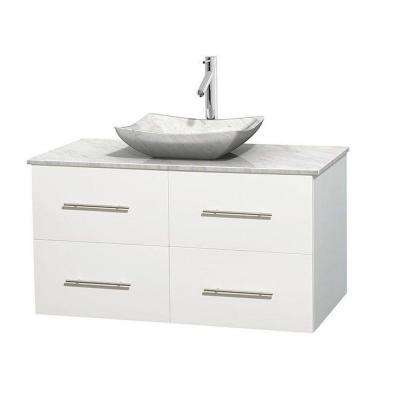 Centra 42 in. Vanity in White with Marble Vanity Top in Carrara White and Sink