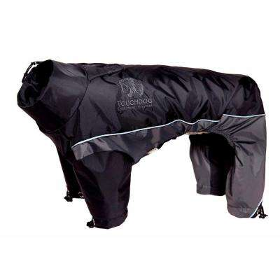 Large Black and Grey Quantum-Ice Full-Bodied Adjustable and 3M Reflective Dog Jacket with Blackshark Technology