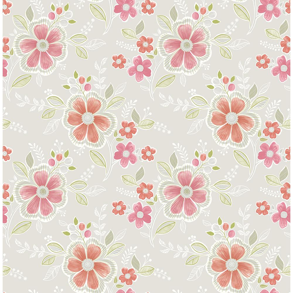 Brewster Chloe Peach Floral Wallpaper 2704 22202 The Home Depot