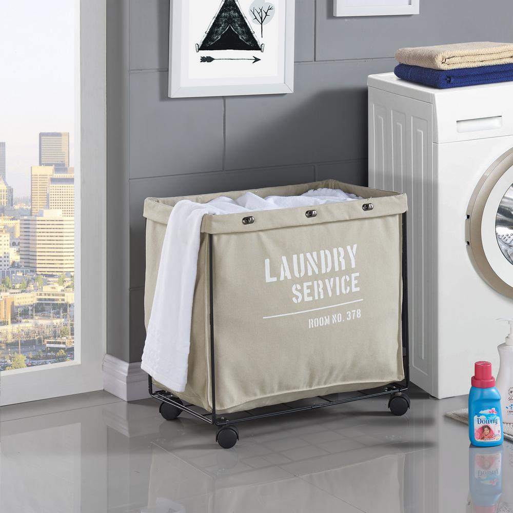 Danya B Army Canvas Laundry Hamper On Wheels Ly207 The