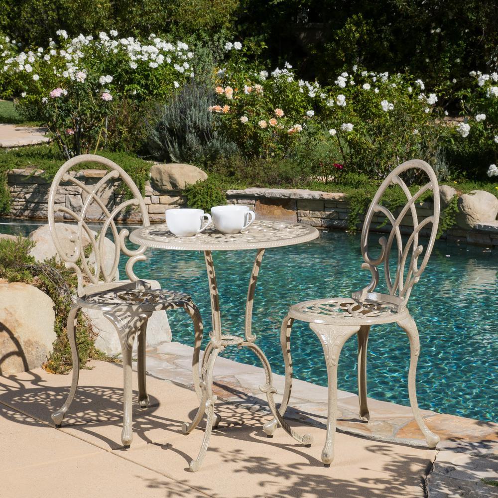 Noble House Charleston Sand 3-pc Aluminum Round Outdoor Bistro Set