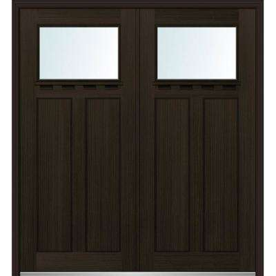72 in. x 80 in. Shaker Left-Hand Inswing 1-Lite Clear Low-E 2-Panel Stained Fiberglass Fir Prehung Front Door with Shelf