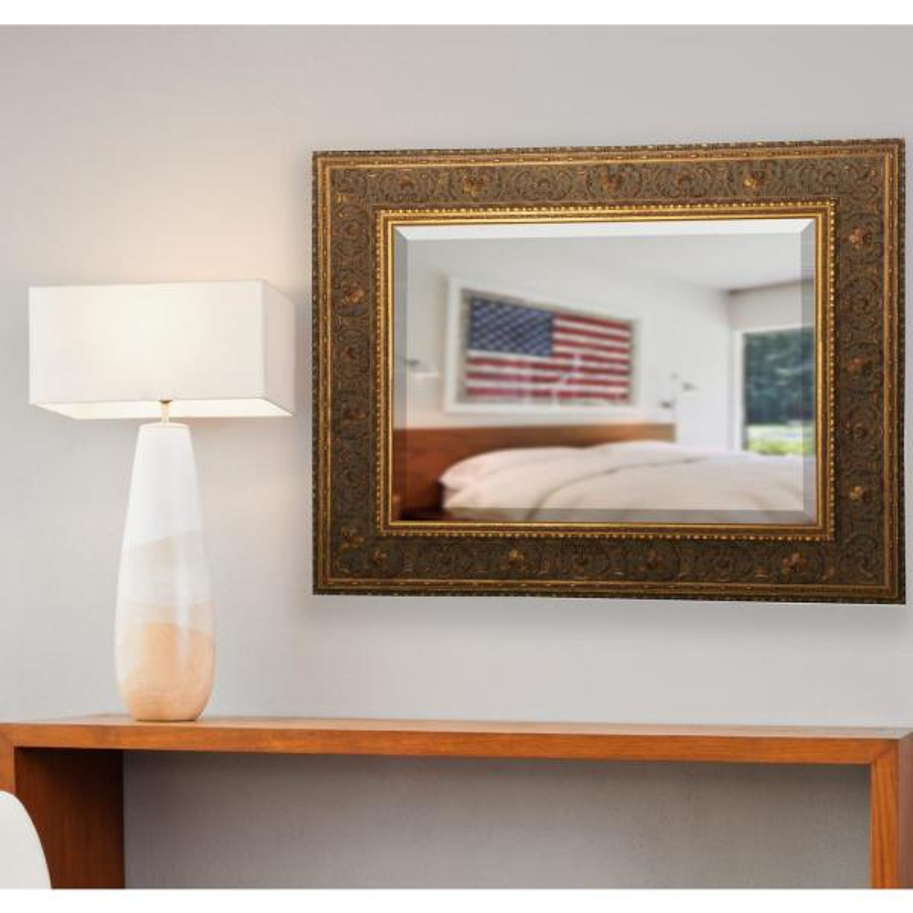 39.5 in. x 35.5 in. Opulent Gold Beveled Vanity Wall Mirror