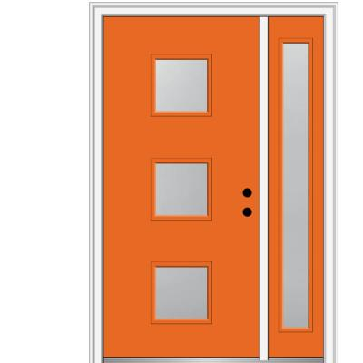 51 in. x 81.75 in. Aveline Frosted Glass Left-Hand 3-Lite Midcentury Painted Steel Prehung Front Door with Sidelite