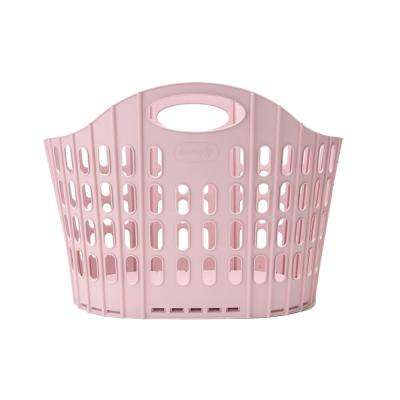 Pink Collapsible Plastic 38 Gallon Laundry Basket