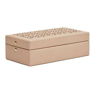 Nora Tan Faux Leather Jewelry Box