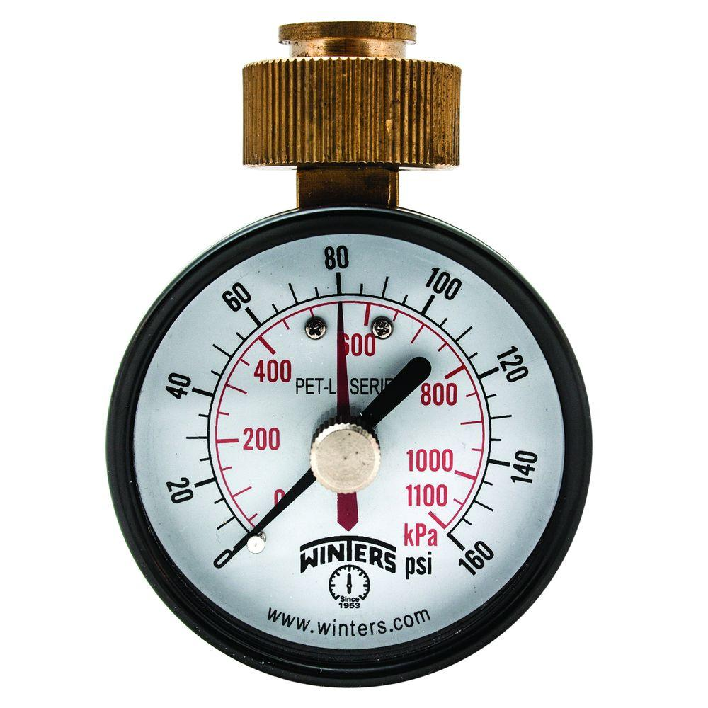 Winters Instruments PET-LF 2 5 in  Lead-Free Brass Water Pressure Test  Gauge with 3/4 in  Swivel Hose and Maximum Pointer and 0-160 psi/kPa