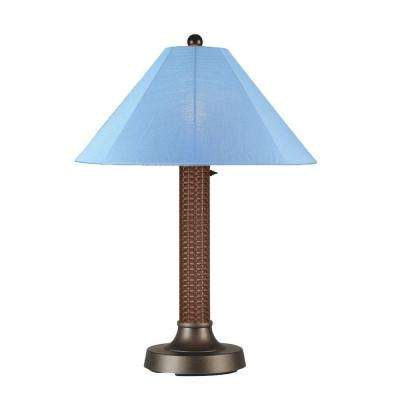 Bahama Weave 34 in. Red Castagno Outdoor Table Lamp with Sky Blue Shade