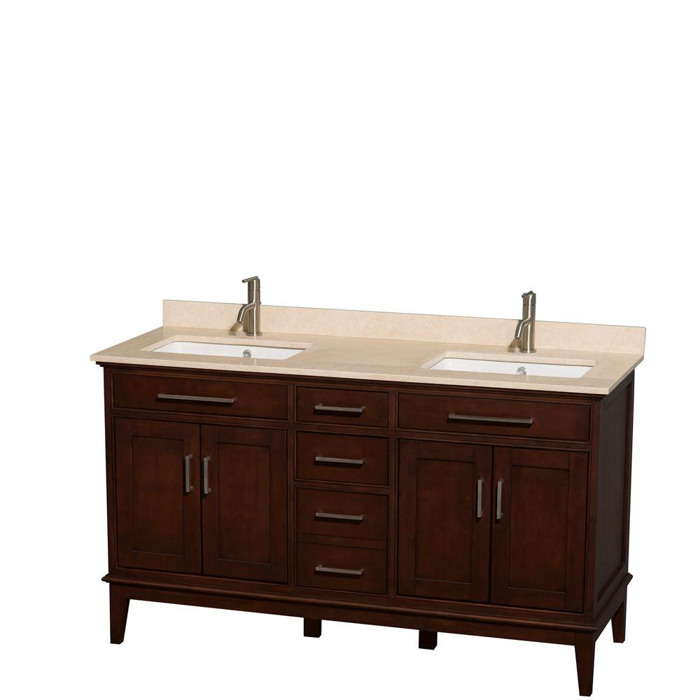 Wyndham Collection Hatton 60 in. Double Vanity in Dark Chestnut with Marble Vanity Top in Ivory and Square Sinks