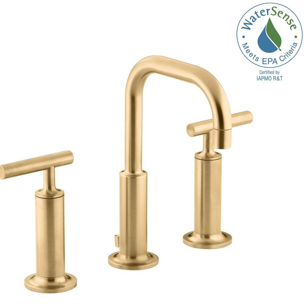 KOHLER Purist 8 in. Widespread 2-Handle Low-Arc Bathroom Faucet in Vibrant Modern Brushed Gold