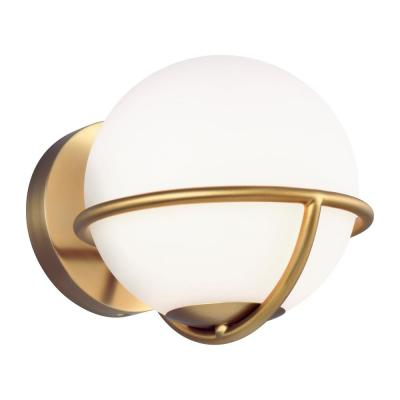 ED Ellen DeGeneres Crafted by Generation Lighting Apollo 7.125 in. W 1-Light Burnished Brass Sconce with White Orb Shade
