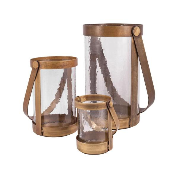 Tonal 14 in., 10 in. and 6 in. Antique Brass and Clear glass Candle Holders (Set of 3)