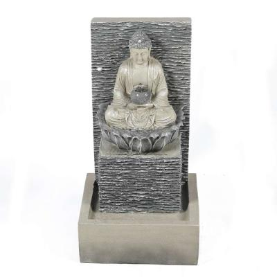Polyresin Meditating Buddha with Pedestal Patio Cascade Fountain with LED Lights