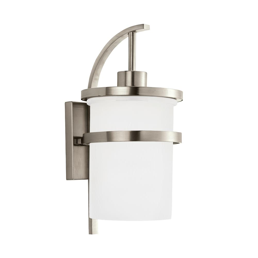 Eternity 1 Light Brushed Nickel Outdoor Wall Mount Lantern With LED Bulb