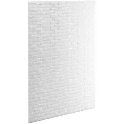 Choreograph 0.3125 in. x 60 in. x 96 in. 1-Piece Shower Wall Panel in White with Brick Texture for 96 in. Showers