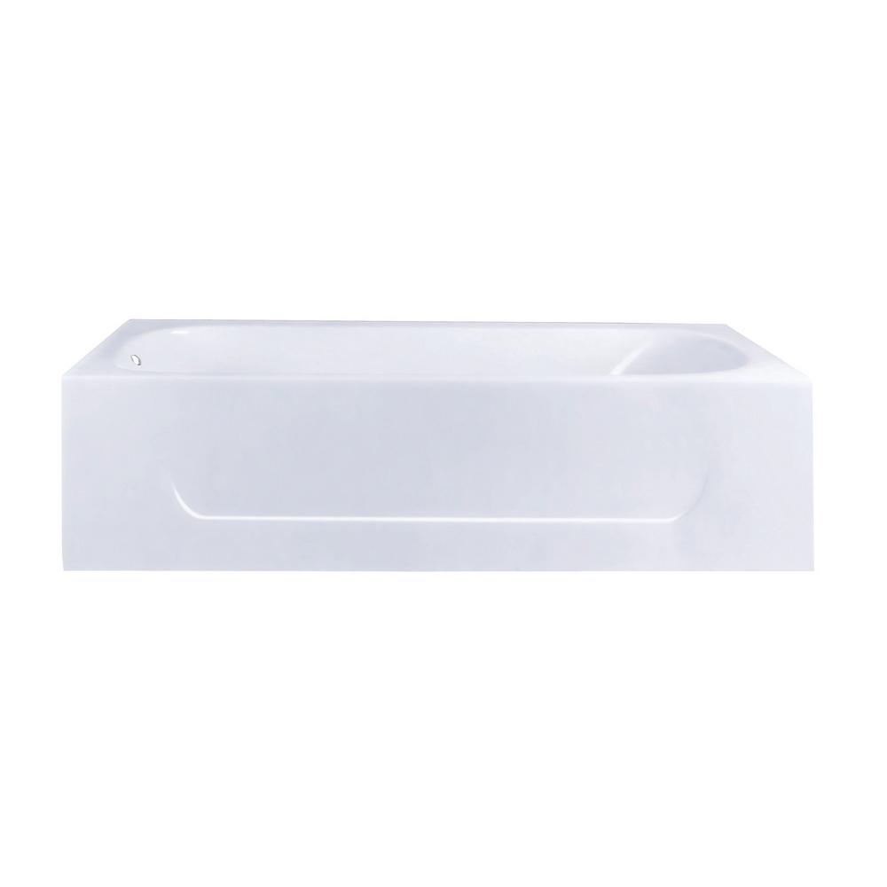 60 in. Cast Iron Left Drain Rectangular Alcove Soaking Bathtub in