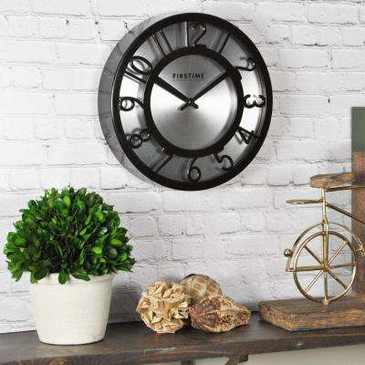 8 in. Round Black on Steel Wall Clock