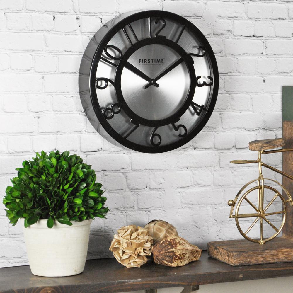 Firstime 8 in round black on steel wall clock 10013 the home depot round black on steel wall clock amipublicfo Images