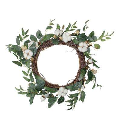 21.5 in. Unlit White Winter Flowers and Foliage Twig Wreath