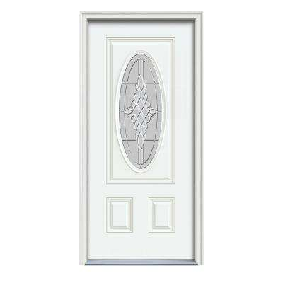 36 in. x 80 in. 3/4 Oval Lite Hadley White Painted Fiberglass Prehung Right-Hand Inswing Front Door w/Brickmould