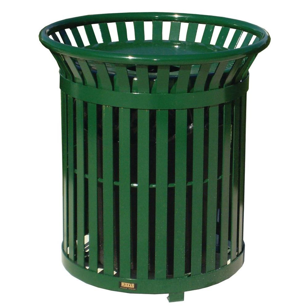 34 Gal. Green Steel Outdoor Trash Can with Steel Lid and