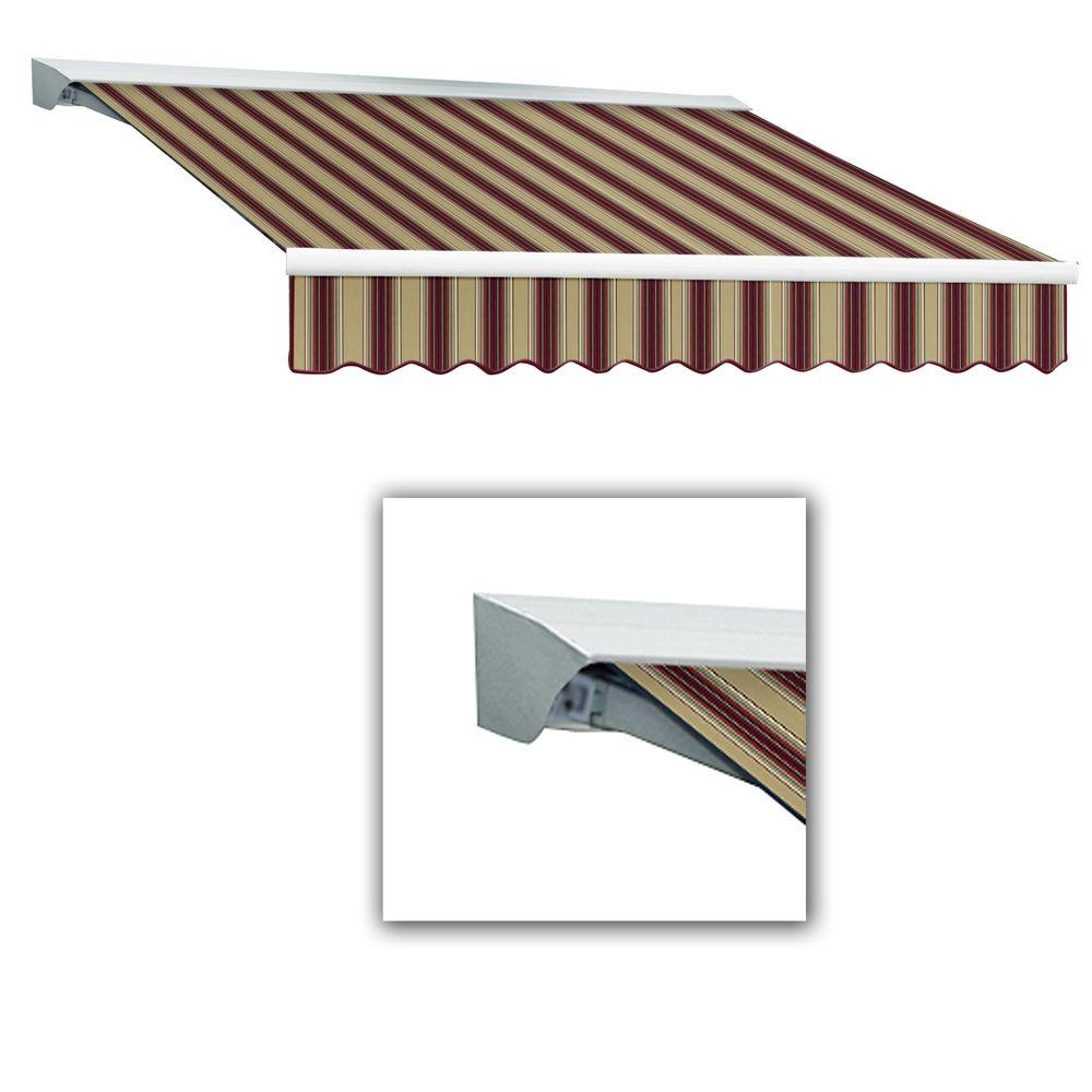 Destin With Hood AT Model Left Motor Retractable Awning 12 Ft W X 10 D In Burgundy Tan Multi