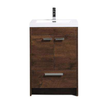 Lugano 24 in. W x 19 in. D x 34 in. H Vanity in Rosewood with Acrylic Vanity Top in White with White Basin