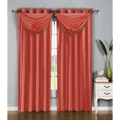 Semi-Opaque Jane Faux Silk 54 in. W x 95 in. L Grommet Extra Wide Curtain Panel in Rust