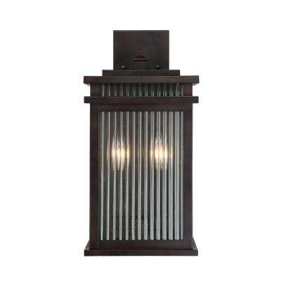 2-Light Outdoor English Bronze Wall Mount Sconce