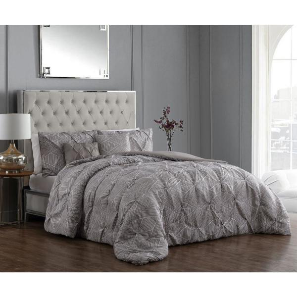 Avondale Manor Rory Pintuck 5-Piece Taupe Queen Comforter Set RRY5CSQUENGHTA