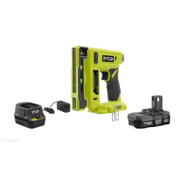 18-Volt ONE+ Cordless Compression Drive 3/8 in. Crown Stapler with 1.3 Ah Battery, Charger, and Sample Staples