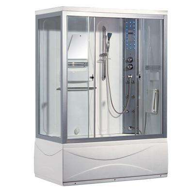 59 in. x 31.5 in. x 86 in. Steam Shower Enclosure Kit with Tub in White