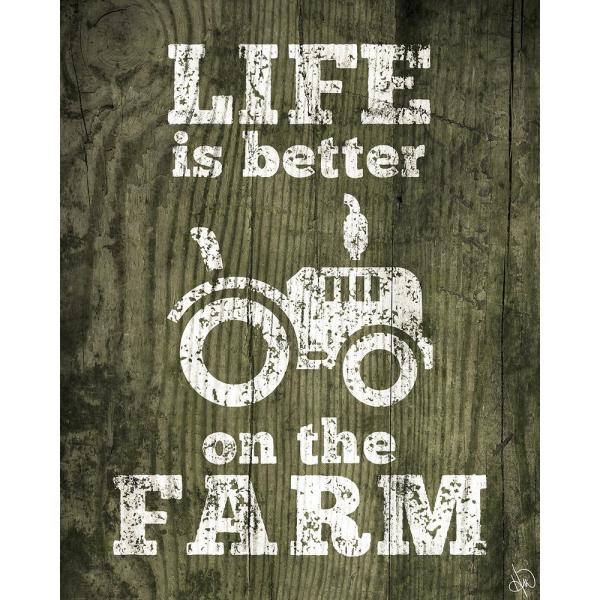 Creative Gallery 11 In X 14 In Life Is Better On The Farm Green Wood Wrapped Canvas Wall Art Print Gar00039c1114t The Home Depot