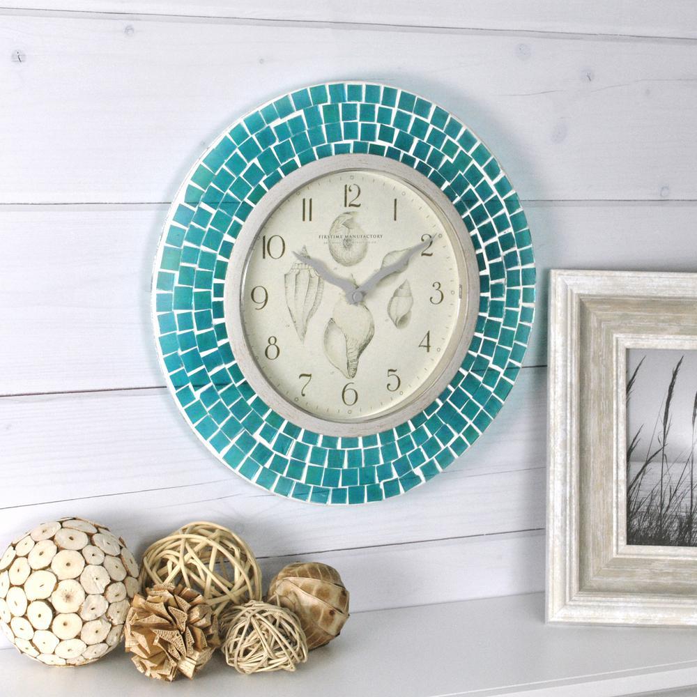 11.5 in. H Blue Mosaic Wall Clock