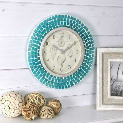 11.5 in. H Blue Mosaic Wall Clock