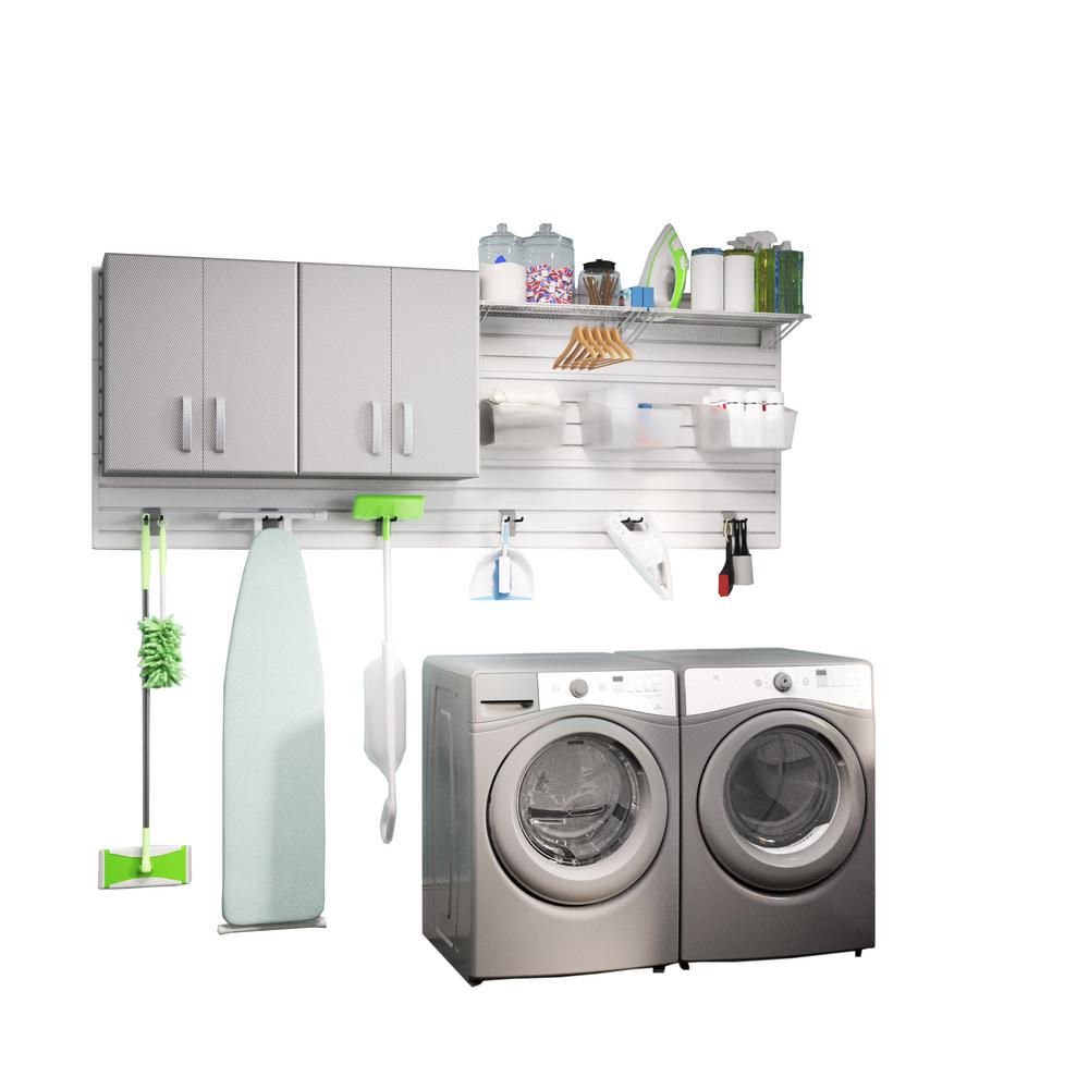 Modular Laundry Room Storage Set with Accessories in Platinum Carbon Fiber