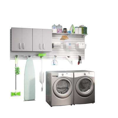 Modular Laundry Room Storage Set With Accessories In Platinum Carbon Fiber 2 Piece