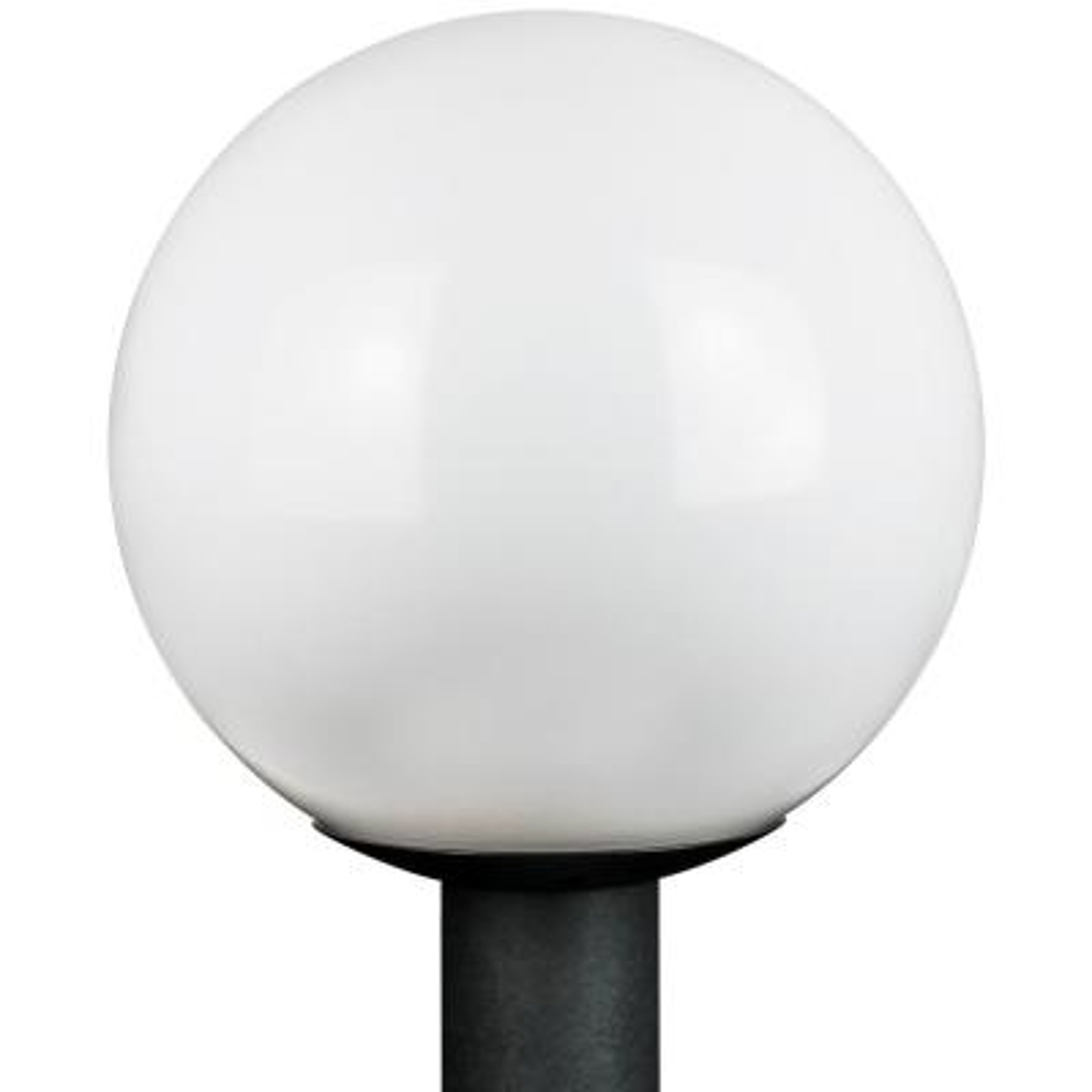 12 in. Outdoor Globe Post 1-Light White Polycarbonate Globe Post Top Lantern
