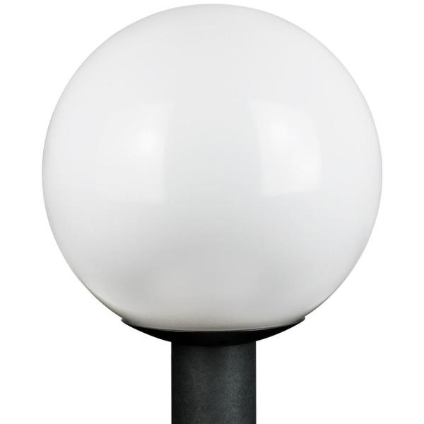 12 in. Outdoor Globe Post 1-Light White Polycarbonate Globe Post Top Lantern