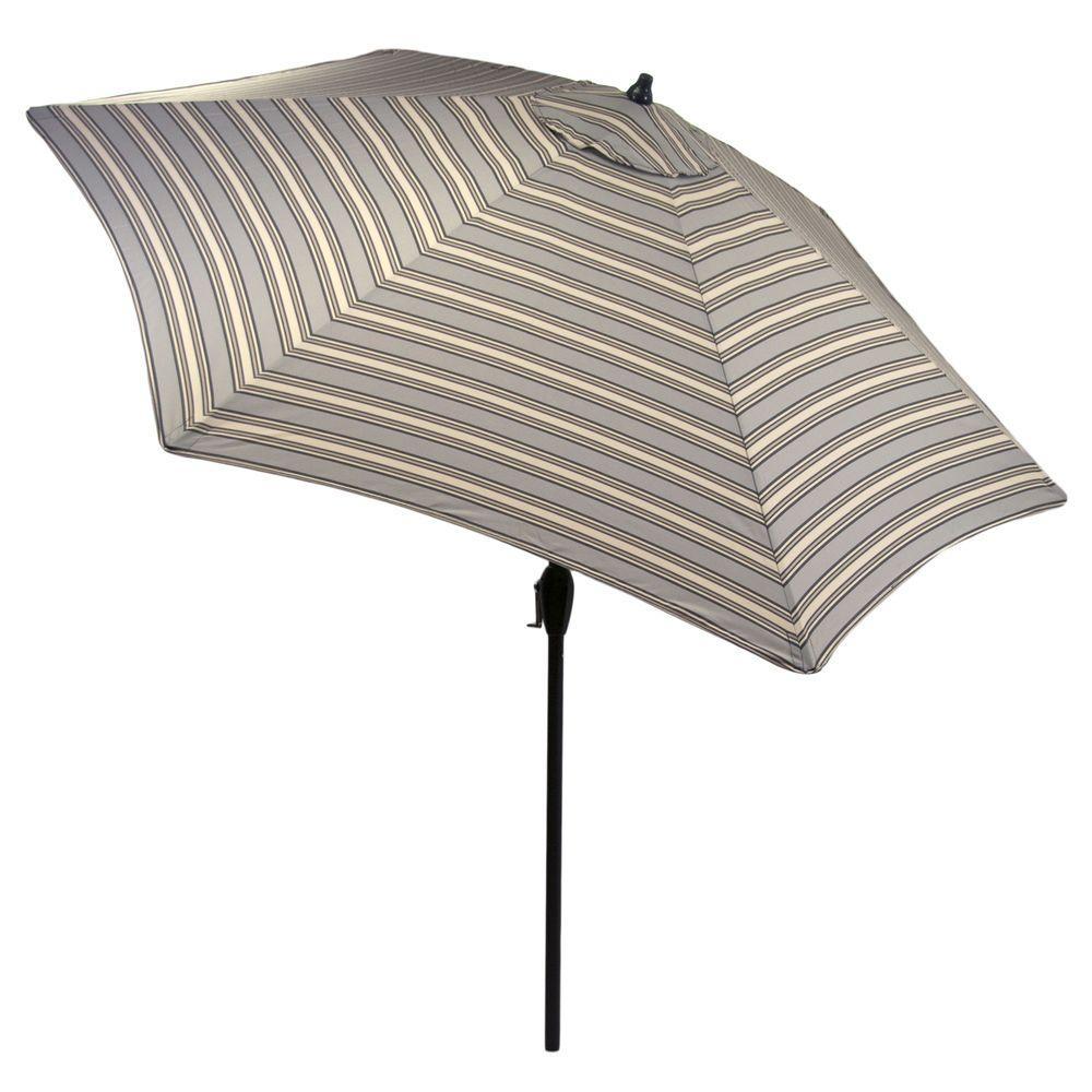 9 Ft. Aluminum Market Patio Umbrella In Cement Stripe ...