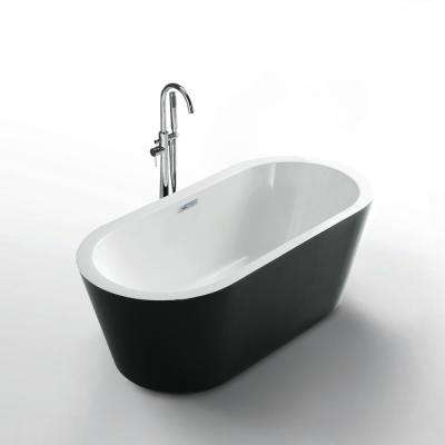 Serenity 62 in. Acrylic Flatbottom Seamless One-Piece Freestanding Bath Tub with Black Exterior and White Interior