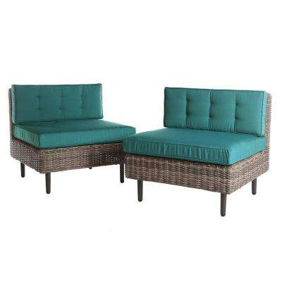 Aimee 2-Piece Wicker Patio Seating Set with Spectrum-Peacock Cushions