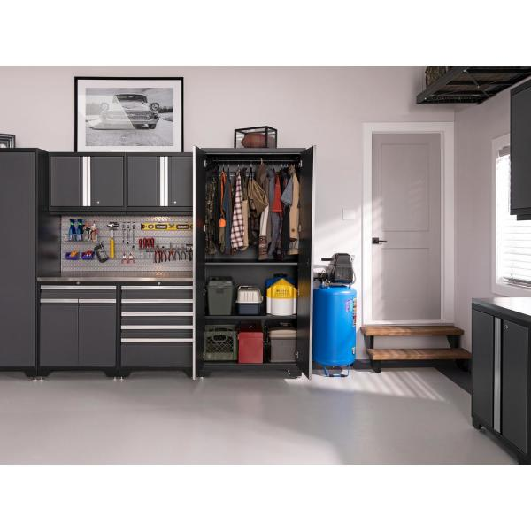Newage Products Pro Series 156 In W X 84 75 In H X 24 In D 18 Gauge Welded Steel Garage Cabinet Set In Gray 8 Piece 52097 The Home Depot