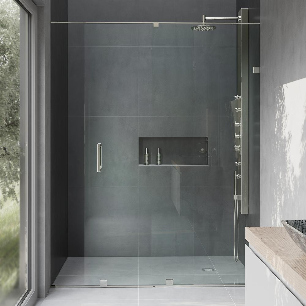 semiframed sliding shower door in stainless steel with 38 in clear the home depot