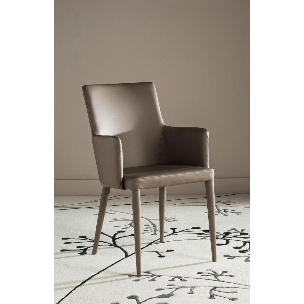 Safavieh Summerset Taupe Bicast Leather Arm Chair Fox2015e