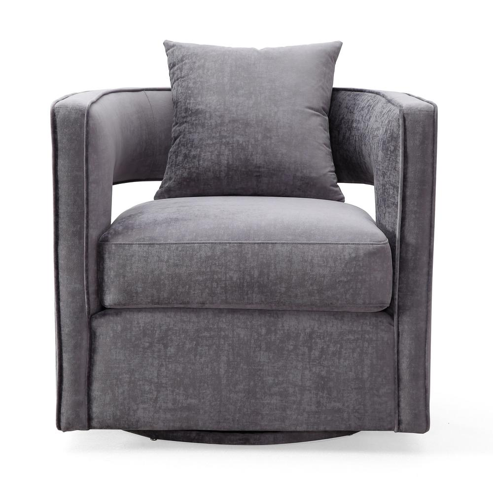 Tov Furniture Kennedy Grey And Velvet Swivel Chair