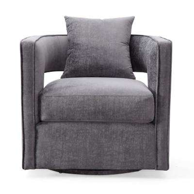Kennedy Grey and Velvet Swivel Chair